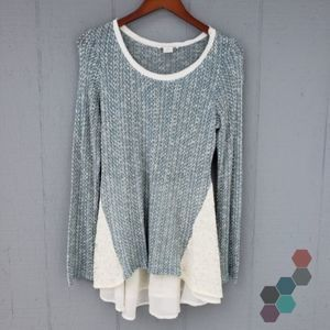 Clu + Willoughby Knit LS Peplum Mixed Media Top M